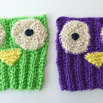 Eco Dish Scrubbies, Owl Scrubbers, Knit Dishcloths - Durable - Bright - Set of 2