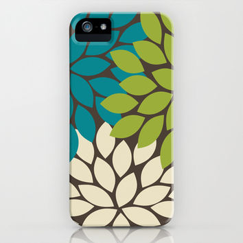 Bold Colorful Biege Brown Teal Green Dahlia Flower Burst Petals iPhone & iPod Case by TRM Design