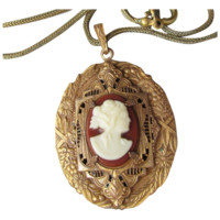 Antique Edwardian Lacy Filigree Celluloid Cameo Gold Filled Necklace