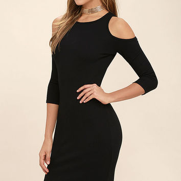 Morning Train Black Bodycon Midi Dress