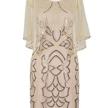 Women's Flapper Dress 1920s Gatsby Inspired Sequin Art Deco With Cape