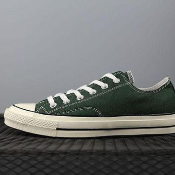ONETOW converse 1970s fashion canvas flats sneakers green