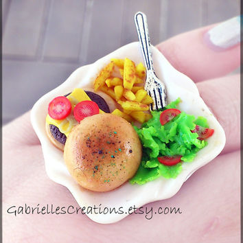 Burger Ring - Handmade - Burger Fries Salad Fork - Kawaii - Polymer Clay - Miniature Ring - Food Mini