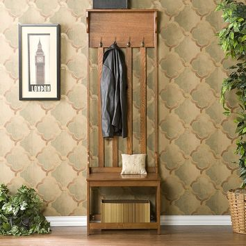 Mission Oak Hall Tree Entry Bench (Brown)