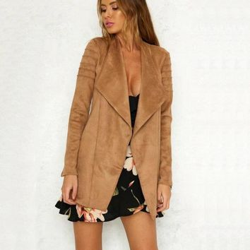 2018 New Spring Autumn Women Fashion Soft Suede Faux Leather Jackets Lady Long All-match Composite Matte PU Trench Coat Black