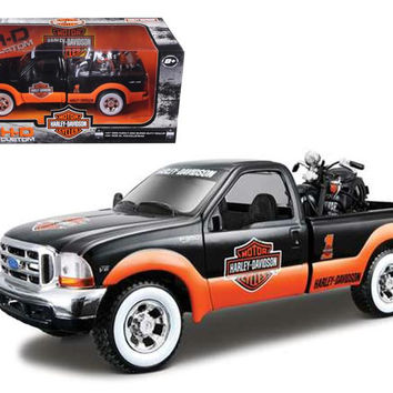 1999 Ford F-350 Pickup Truck With Harley Davidson 1936 El Knucklehead Motorcycle 1-24 Orange-Black & White Wheels by Maisto