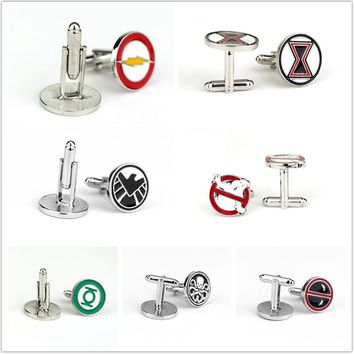 Fashion Jewelry Ghostbusters Deadpool Green Lantern Flash Cufflinks Mens Shirt Cuff Button Gifts for Men
