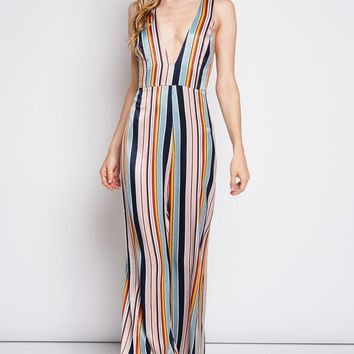 Stand Tall Striped Jumpsuit in Multi