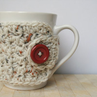 Aran Speckled Mug Cozy with Button