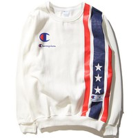 Autumn and winter tide brand CHAMPION stars color printed round neck sweater men and women models sets of head sweater