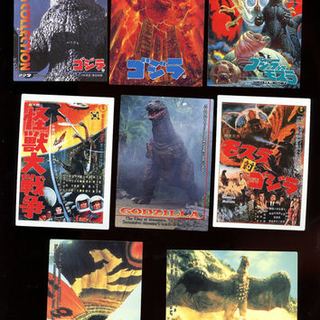 Godzilla Vintage 1995 Japanese 8 card lot includes 1 check list card Free Shipping