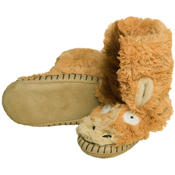 Horse Youth Fuzzy Fleece Slippers