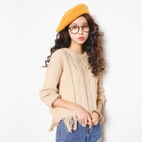 Knit Korean Tassels Women's Fashion Tops [9022839751]