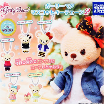 Takara Tomy Disney Minnie Cuddly Girly Bear Gashapon Part 2 Mascot Strap 5 Figure Set