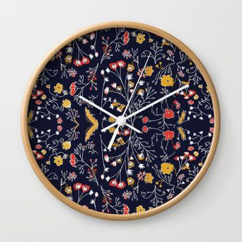 Flowers Pattern Dark Wall Clock by aljahorvat
