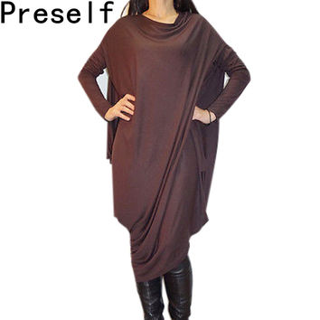 Preself Women Knit Batwing Sleeve Wrap Dress Ladies Casual Loose Asymmetric Oversized Dresses Plus Size Vestidos Autumn winter