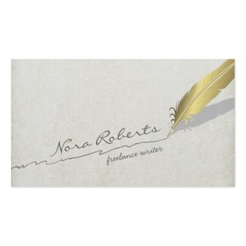 Gold Quill Feather Pen Handdrawn Line on Old Paper Business Card