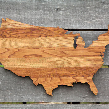 United States shape wood cutout wall art handcrafted from repurposed Oak flooring 17 x 27 in. Wedding Housewarming Cabin Rustic Gift Decor