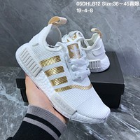 HCXX A1270 Adidas NMD Boost Knit Running Shoes White Gold