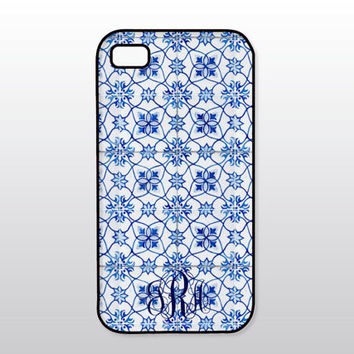 Blue & White iPhone Case - Vintage Blue Tiles - Monogrammed Gift for Her