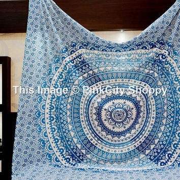 Ombre Mandala, tapestry wall hanging, Bohemian tapestries, wall art, beach blanket, Mandala tapestries, Wall Hanging, Indian tapestries Art