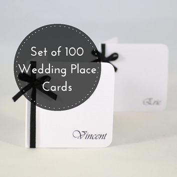 100 Wedding Place Cards - Black and White Wedding Place Cards - Custom Place Cards -  Luxury place cards - Wedding name cards