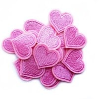 Pink Heart Patches - Small Heart Patches - Micro Patches - Hippie Patch - Girl Love Heart Patch -  LoveHeart Patch - Iron on Patch Heart