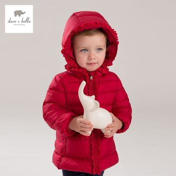 DB4132 DAVEBELLA baby girl down jacket with ruffle
