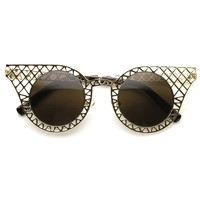 Women's Indie Round Cat Eye Laser Cut Metal Sunglasses 9315