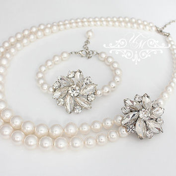 Wedding Jewelry Snowflake Wedding Set Single Strand Snowflake Bracelet Double Strands Snowflake Necklace Snowflake Set Jewelry - FAITH