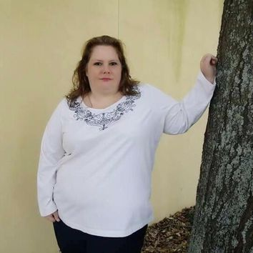 Only Necessities Plus Size Cotton Beaded Cream Top, Size 3X