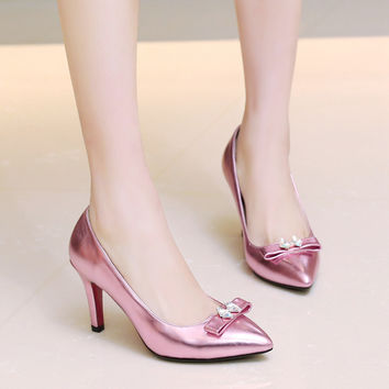 Rhinestone BowKnot Evening Shoes Woman High Heels Wedding Heels Ladies Pumps Brand Party Shoes Red Bottom Big Size 33-42