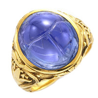 Bailey Banks and Biddle Art Nouveau Sapphire Scarab Gold Ring