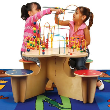 Kids Fleur Rollercoaster Group Play Multi Activity Learning Fun Table With 4 Attached Stools