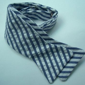 Freestyle Bowtie For Men Blue Stripe Seersucker