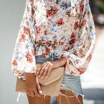 Ornate Floral Balloon Sleeve Blouse - FINAL SALE