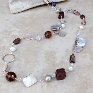 Long white pearl shell brown wood quartz mother of pearl necklace, natural pearl, shell, sandy neutrals long beaded pearl, gift for her