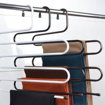 60% off Hanger Clothes Hanger Rack Pants Hanger 5 Layer Trousers Holders Towels Clothes Apparel Hangers Space Saving