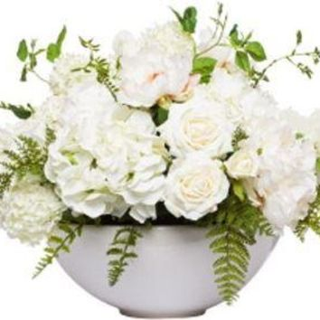 White Mixed Centerpiece In White Bowl