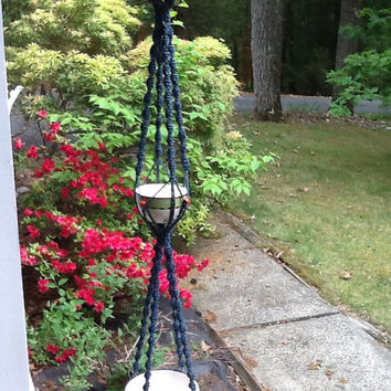 Triple jute macrame hanger, trio hanger, newly knotted from 5 ply vintage steel  blue jute, 3 tier hanger, blue plant hanger , retro style