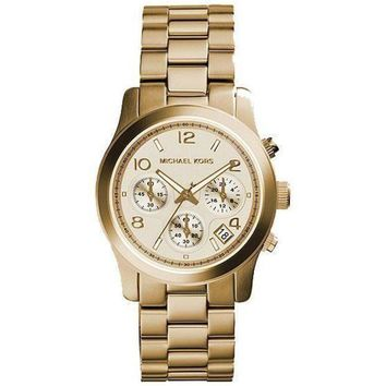 DCCKU7Q Michael Kors MK5055 Runway Gold Tone Stainless Steel Ladies Watch