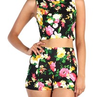 Floral Crop Top and High Waisted Shorts Set - Black
