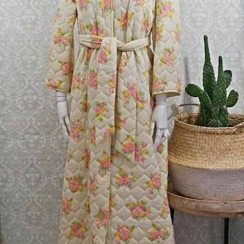 Vintage 1960s Quilted + Floral Robe
