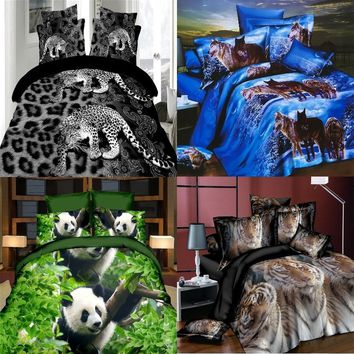 3D Wolf/Panda/Tiger/Leopard  Painting Bedding Sets 2/3/4pcs Bed Set Duvet cover Bed sheet  Pillowcase(Size Twin Queen)