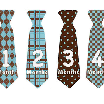 Baby Month Stickers Boy Monthly Onesuit Stickers Brown Tie Stickers Monthly Onesuit Stickers Boy Baby Shower Gift Photo Prop Tyler