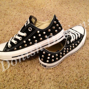 Custom Studded Converse Shoes ONE SIDE ONLY by DonishDesigns