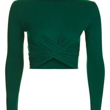 Long Sleeve Twist Front Crop Top - New In This Week - New In