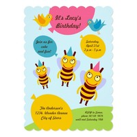 Bees and Balloons Girl Birthday Party Invitation