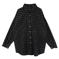 Black Gingham Printed Long Sleeve Shirt