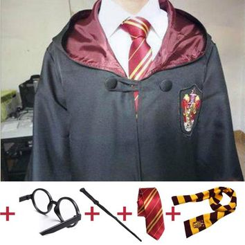 Cosplay Costume Robe Cloak with Tie Scarf Wand Glasses Ravenclaw Gryffindor Hufflepuff Slytherin  for Harri Potter Cosplay